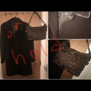 Brown Coach wool coat Sz.L & coach purse